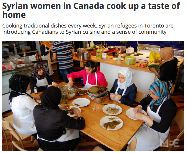The Newcomer Kitchen, a volunteer-run initiative that brings Syrian refugee women together in Toronto to cook meals from their native country and share them with Canadians (MEE/Jillian d'Amours)